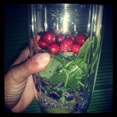 Breakfast. I juiced cranberries, blueberries, chai seeds, kiwi, spinach, kale with honey. #Nutribullet #magicbullet #juicing #brainfood #organic #nutriblast #health #healthyliving #natural #fruits #vegetables #breakfast