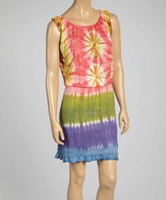 Another great find on #zulily! Pink & Green Tie-Dye Shirred Sleeveless Dress #zulilyfinds