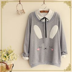 Rabbit Face Sweatshirt ($23) ❤ liked on Polyvore featuring tops, hoodies, sweatshirts, grey sweatshirt, gray sweatshirt, grey top and gray top