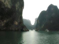 Foggy Ha long bay in the Vietnam in early morning