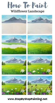 Easy Landscape Paintings, Simple Acrylic Paintings, Landscape Drawings, Watercolor Landscape, Landscapes To Paint, Canvas Painting Tutorials, Painting Steps, Step By Step Painting, Learn To Paint