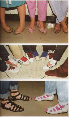 Popular Footwear of the 1980's.   I think those are my feet in the top left :)