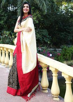 Cream and red raw silk saree