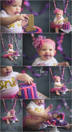 pink purple and gold cake smash photography - 1st birthday cake smash with gold glitter