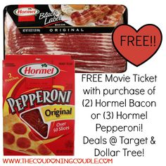 ~*~ AWESOME AWESOME DEALS ~ BE SURE TO PRINT YOUR COUPONS! ~*~ FREE Movie Ticket with Purchase of Hormel Bacon & Pepperoni Products!  Click the link below to get all of the details ► http://www.thecouponingcouple.com/free-movie-ticket-with-purchase-of-hormel-bacon-pepperoni-products/ #Coupons #Couponing #CouponCommunity  Visit us at http://www.thecouponingcouple.com for more great posts!