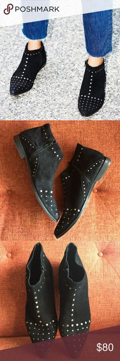Free People // Aquarian Black Studded Ankle Bootie Pointed toe ankle boots featuring rough out suede and allover metal stud detailing. Subtle stacked heel and an inside side zip for an easy on-off. New never worn. No box. Fits true to size. No trades. Free People Shoes Ankle Boots & Booties