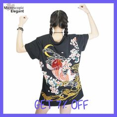 "HOT PRICES FROM ALI - Buy ""punk funk rock t-shirt harajuku 2017 Japan YOKOSUKA embroidery dragon and koi baseball uniform unisex fashion vintage shirt "" from category ""Women's Clothing & Accessories"" for only USD. Carpe Koi Japonaise, T-shirt Broderie, Harajuku Japan, Moda Vintage, Japanese Embroidery, Long Tee, Rock T Shirts, Kawaii Clothes, Nerd Clothes"