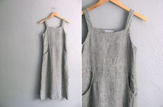 vintage '90s grey & white MINIMALIST checkered/striped maxi PINAFORE LINEN tank dress. size xs.
