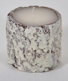 Snow Bark Pillar Candle #zulily #zulilyfinds