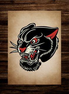 Black Eagle Tattoo, Black Panther Tattoo, Traditional Eagle Tattoo, Traditional Panther Tattoo, Tatto Old, Old Tattoos, Desenhos Old School, Surf Tattoo, Old Scool