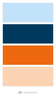 Sky, Navy, Orange, and Peach Wedding Color Palette - custom color palette created at MagnetStreet.com
