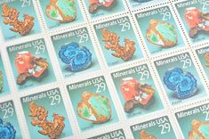 Pack of 25 Unused Minerals Postage Stamps - - 1992 - Unused - Quantity of 25 Baby Shower Invitations, Birthday Invitations, Wedding Envelopes, Vintage Stamps, Unique Vintage, Minerals, Decoupage, Craft Projects, Crafts