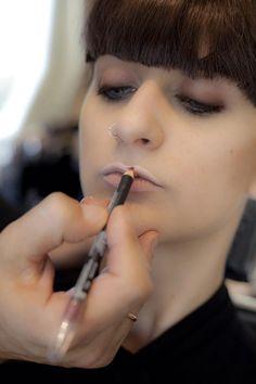 Start applying red pencil Making small & thin lips looking bigger  Tips & tricks by Panos Kallitsis