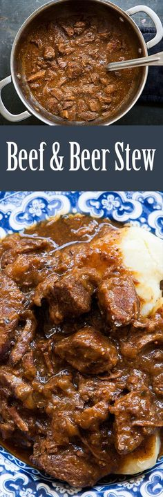Carbonnade Belgian beef stew recipe, with beef, onions, and Belgian ale, and seasoned with bay and thyme. #BeefStew #Carbonnade #BeefBeerStew