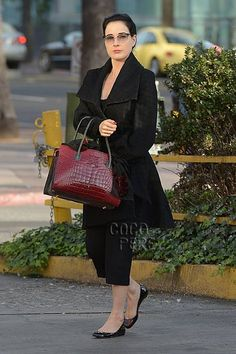 Dita Von Teese goes to the nail salon in Los Angeles carrying an Analeena bag.