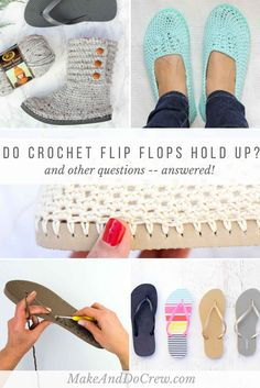 If you're curious how to crochet on flip flops, this post will answer all your questions including if they fall apart over time. FAQs & good tips about crocheting on flip flops to make sandals, boots, shoes or. If you've ever wonde Learn the Knit-Lik Crochet Sandals, Crochet Boots, Crochet Slippers, Knit Or Crochet, Crochet Crafts, Crochet Stitches, Crochet Patterns, Crochet Granny, Stitch Patterns