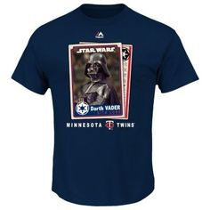 Men's Majestic Minnesota Twins Star Wars Darth Vader Baseball Card Tee $7.20