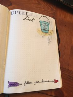 Bucket list page layout bullet journal.