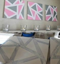 Design stretcher bars with different techniques - 17 craft ideas make keilrahmen-geometrically-motive-triangles Paint pink-gray Triangles, Acrylic Wall Art, Acrylic Canvas, Gris Rose, Farmhouse Style Decorating, Simple Colors, Eye Art, Creating A Blog, Diy Wall Decor