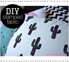 DIY Cactus Pillow - Hand Stamped Fabric tutorial - Patchwork Cactus 3