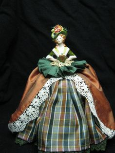 Porcelain Half Doll Pincushion Doll dressed in silks by KaysStudio, $54.00
