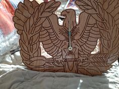 Laser engraved on in oak and cut out using a Dremel! Warrant Officer, Dremel, Laser Engraving, Clocks, Bags, Handbags, Watches, Clock