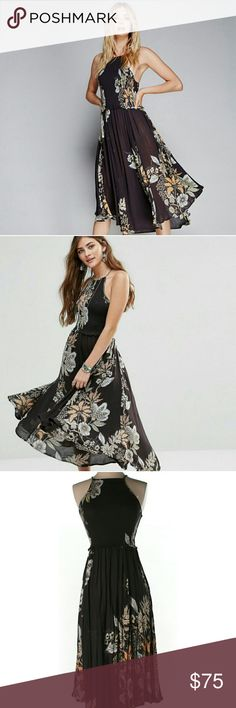 """Free People Seasons in the Sun Floral Dress rare to find length 46""""  *Flash* item will be available for sell for 10 days. If unsold, will return to manufacturer Once sold at siteS will delete listing, please follow me~~  Accept offer but no low ball  no trade Free People Dresses High Low"""