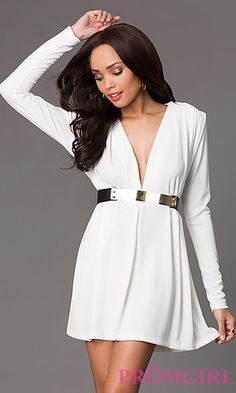 Short Long Sleeve Dress with Plunging Neckline at PromGirl.com