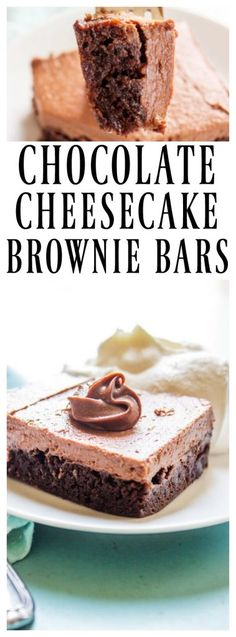 Chocolate Cheesecake Brownie Bars - decadent and delicious this no-bake chocolate cheesecake with a fudgy brownie base will have you drooling. Köstliche Desserts, Chocolate Desserts, Delicious Desserts, Dessert Recipes, Bar Recipes, Chocolate Chocolate, Chocolate Frosting, Healthy Desserts, Brownie Recipes