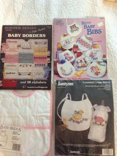 Lot cross stitch Baby Bibs- kits- bib janlynn #257-36 Dale Burdett etc...  #BibsBabyBordersPocketBib