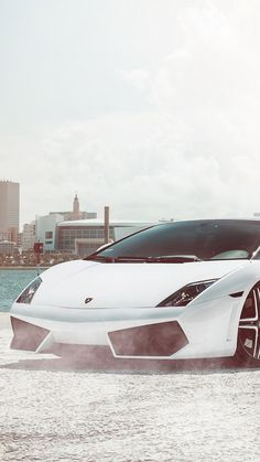 ↑↑TAP AND GET THE FREE APP! Men's World Lamborghini Gallardo White City Luxury Supercar Car For Guys Speed Stylish HD iPhone 6 plus Wallpaper