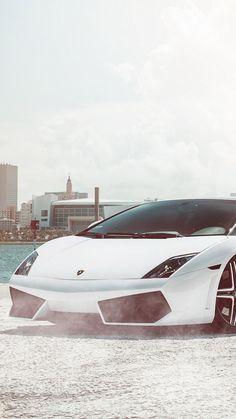 ↑↑TAP AND GET THE FREE APP! Men's World Lamborghini Gallardo White City Luxury Supercar Car For Guys Speed Stylish HD iPhone 6 plus Wallpaper