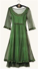 SMOKY EMERALD DRESS. Absinthe. Tea Dress. Victorian Trading Co. Green. Lace.