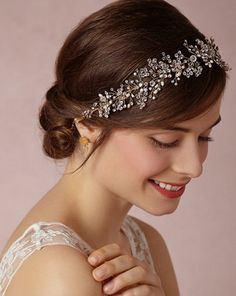 Vintage Inspired Bridal Headband vine, halo by anartstore on Etsy