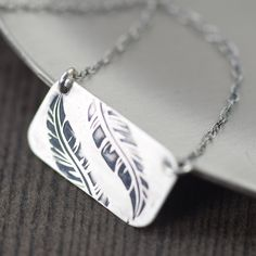 Silver Feather necklace in sterling silver