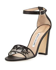 Lauratop Lace Chunky-Heel Sandal, Black by Manolo Blahnik at Neiman Marcus.