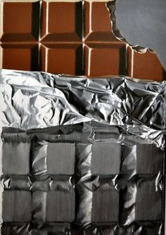 ARTFINDER: Chocolate Bar by Peter Slade - was quite a challenge to capture the crumpled foil, and it took a few goes to get the bite right!! also available as a limited edition print from my websi...