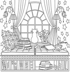 Best Drawing For Kids Ideas Coloring Books Ideas Cat Coloring Page, Coloring Book Pages, Printable Coloring Pages, Free Adult Coloring, Coloring Pages For Kids, Kids Colouring, Best Drawing For Kids, Succulents Drawing, Cat Reading