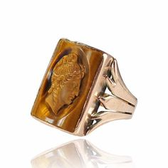 Antique 10K Rose Gold Ring French Victorian Cameo Ring by boylerpf, $375.00