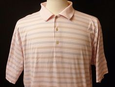 Peter Millar Men's Polo Golf Shirt Pink Striped Short Sleeve Size L #PeterMillar #PoloRugby