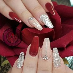 The Deep Winter Nail Art Designs are so perfect for Hope they can inspire . - The Deep Winter Nail Art Designs are so perfect for Hope they can inspire you and read the ar - Red Acrylic Nails, Acrylic Nail Designs, Nail Art Designs, Red Gel Nails, Nails Design, Red Ombre Nails, Silver Nail Designs, New Years Nail Designs, Pastel Nails