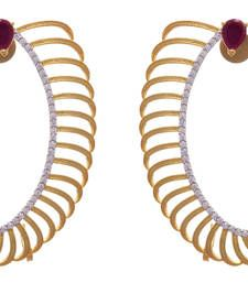 Buy Red gold plated american diamond ear cuffs ear-cuff online