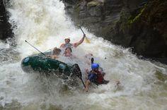 Splashing into white water fizzing below Tenorio River's 12-foot plunge Guanacaste, Costa Rica #rafting #fun #cool