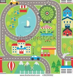 Find Lovely City Landscape Car Track Play stock images in HD and millions of other royalty-free stock photos, illustrations and vectors in the Shutterstock collection. Maps For Kids, Diy For Kids, Kids Play Table, Diy Sewing Table, Boys Playing, City Landscape, Pista, Drawing For Kids, Baby Sewing