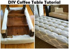 diy~ tufted coffee table bench | tufted ottoman coffee table