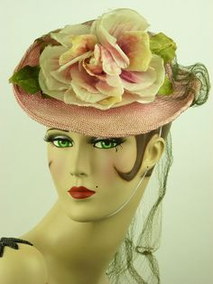 VINTAGE HAT 1940s SALLY VICTOR PINK STRAW TILT TOPPER w ROSE & VEILING STUNNING!