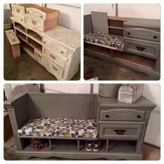 Turn an Old Dresser into a Mudroom Bench.these are the BEST DIY Upcycled & Repurposed Ideas! Over 20 of the BEST Upcycled Furniture Ideas - ways to turn Trash into Treasure! These ideas are a great way to repurpose old furniture & very easy to make! Refurbished Furniture, Repurposed Furniture, Furniture Makeover, Painted Furniture, Dresser Repurposed, Dresser Makeovers, Dresser Ideas, Furniture Storage, Upcycled Furniture Before And After
