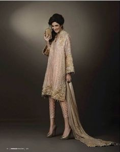 love the color, details and especially the skinny pant style, absolutely chic ! Pakistani Couture, Indian Couture, Pakistani Outfits, Indian Outfits, Emo Outfits, Ethnic Fashion, Asian Fashion, High Fashion, Punk Fashion