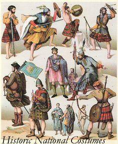 Scotland Costume Wall Art Prints by French School Scottish Dress, Scottish Clothing, Scottish Kilts, Scottish Tartans, Scottish Fashion, Historical Clothing, Scottish Warrior, Irish Warrior, Scotland History