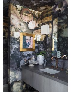 metallic wallpaper in a Palm Springs home powder room by Michael Boyd_first dibs.com